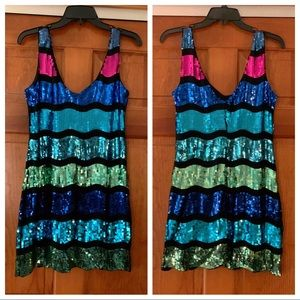 Sequined Multi-Color and Black Mini Dress - NWT!